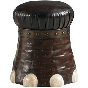 Elephant-Foot Shaped Stool with Coconut Bark & Crystal Stone