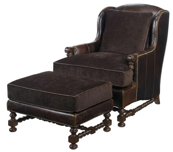 Leather Bradbury Chair and Ottoman by Lexington at Baer's Furniture