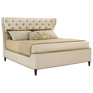Mulholland Queen Upholstered Platform Bed with Button Tufting and Contrast Welt
