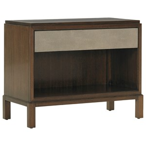 Pandora Shagreen Nightstand with Wire Management and LED Lighting