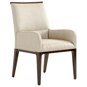 Collina Upholstered Arm Chair in Wheat Fabric