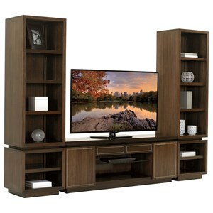 Three Piece Entertainment Wall Unit with Adjustable Shelving and Wire Management