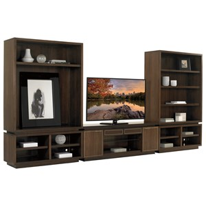 Three Piece Large Entertainment Wall Unit with Adjustable Shelving and Wire Management