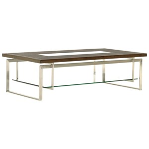 Granville Cocktail Table with Clear Glass Insert and Floating Glass Shelf