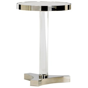 Kinnard Chairside Accent Table with Mirrored Top and Stainless Steel Trim