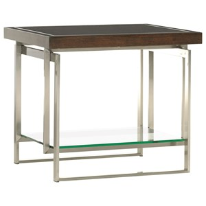 Granville End Table with Floating Glass Shelf