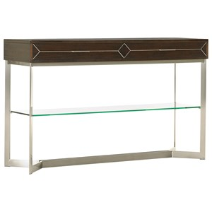 Loring Two Drawer Sofa Console Table with Floating Glass Shelf