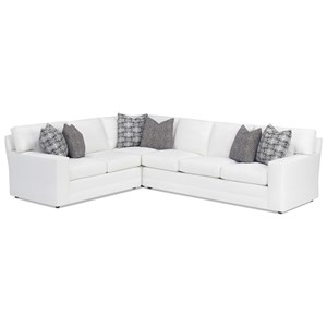 Customizable Bedford Three Piece Sectional Sofa with LAF Loveseat (9 Inch Track Arms, Boxed Edge Back, Upholstered Base)