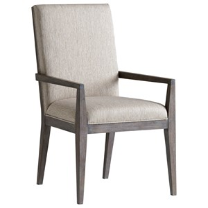 Bodega Upholstered Arm Chair in Finley Taupe Fabric
