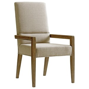 Metro Dining Arm Chair in Dove Gray Fabric