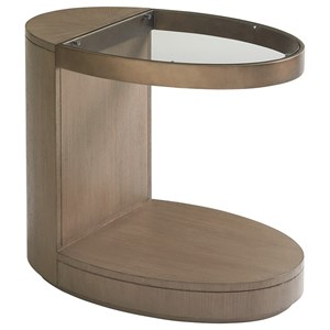 Highball Cantilevered Oval End Table