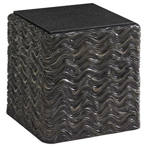 Talk of the Town Wave-Patterned Accent Table with Stone Top