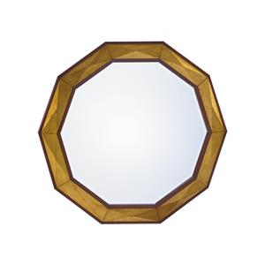 Savoy Round Mirror with Faceted Gold Leaf Border