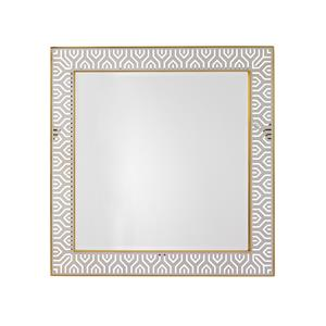 Tribeca Square Mirror with Laser-Cut Stainless Steel Frame and Brass Trim
