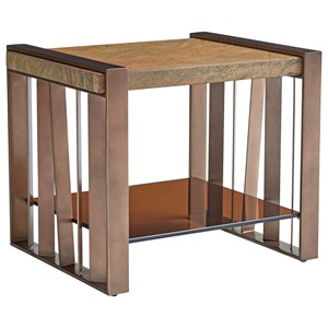Intersect End Table with Brazilian Gold Granite Top