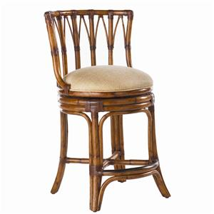 <b>Customizable</b> South Beach Rattan Swivel Counter Stool