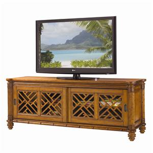 Nevis Media Console with Pierced Lattice Panels