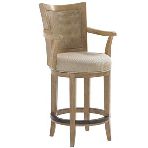 <b>Customizable</b> Carmel Woven Split Rattan Back Swivel Counter Stool