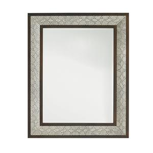 Embossed Leather Python Mirror with Walnut Frame