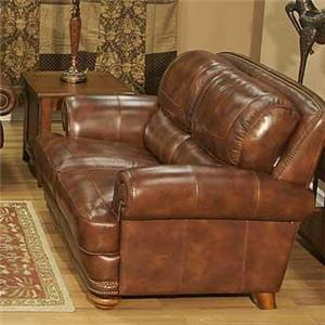 Traditional Warm Brown Leather Loveseat with Nailhead Trim