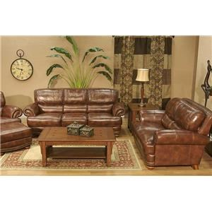 4 Piece Leather Sofa Group Including Sofa, Loveseat, Chair, and Ottoman
