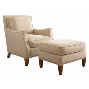 Libby Langdon for Braxton Culler Libby Langdon Haynes Chair & Ottoman w/ Small Nailheads
