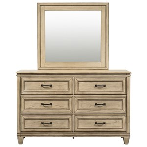 Transitional 6 Drawer Dresser & Beveled Glass Mirror