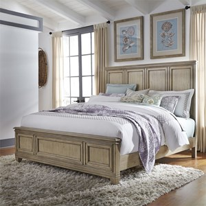 Transitional King Panel Bed with Crown Molding