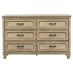 Transitional 6 Drawer Dresser with Dovetail Joinery