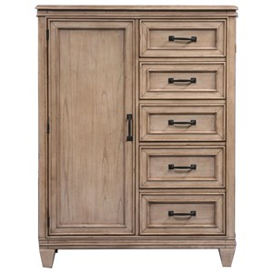 Transitional Door Chest with 5 Drawers