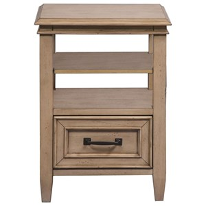 Transitional Open Night Stand with Bottom Drawer