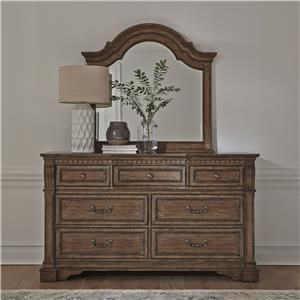 7 Drawer Dresser & Arched Mirror Set