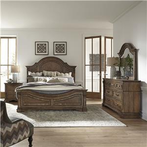 Queen Panel Bed, Dresser, Mirror & Nightstand