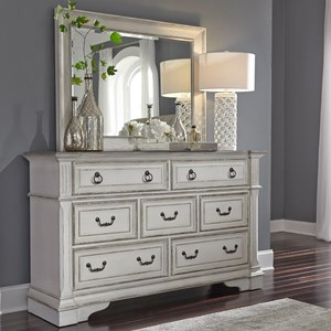 Traditional 7 Drawer Dresser with Felt Lined Top Drawers and Mirror