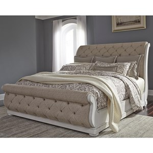 Traditional Upholstered Queen Sleigh Bed