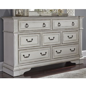 Traditional 7 Drawer Dresser with Felt Lined Top Drawers