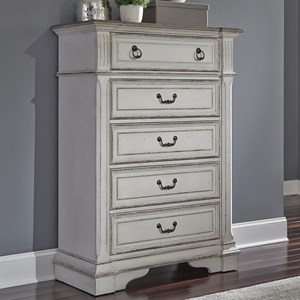 Traditional 5 Drawer Chest of Drawers with Felt Lined Top Drawer