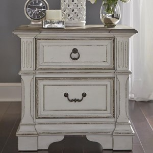 Traditional 2 Drawer Nightstand with Built In Charging Station