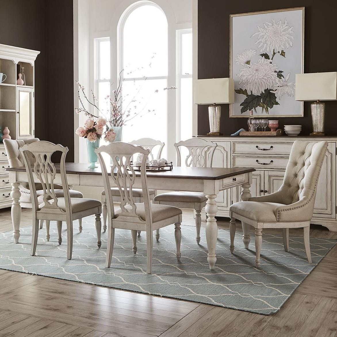 Abbey Road 7-Piece Rectangular Table Set by Liberty Furniture at Furniture and ApplianceMart
