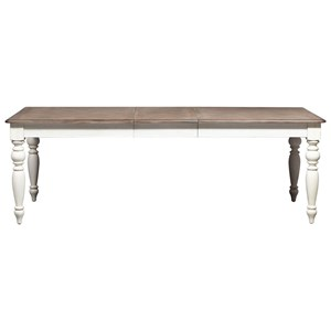 Traditional Rectangular Leg Table with 1 Drawer and Table Leaf