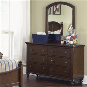 6 Drawer Dresser & Arched Vertical Mirror