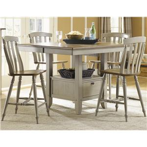 Five Piece Gathering Table with Counter Height Slat Back Chairs Set