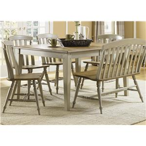 Six Piece Dining Table Set with Chairs and Bench