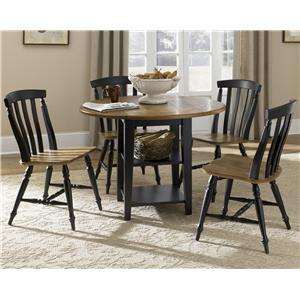 Five Piece Drop Leaf Table and Slat Back Chairs Set