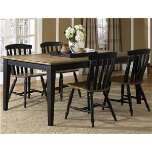 Five Piece Rectangular Table and Slat Back Chairs Set