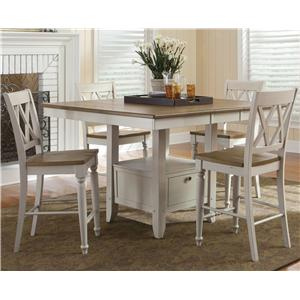 Five Piece Gathering Table with Counter Height Double X-Back Chairs Set