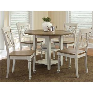 Five Piece Drop Leaf Table and Double X-Back Chairs Set