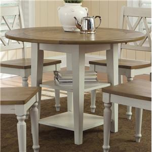 Round Drop-Leaf Dining Leg Table