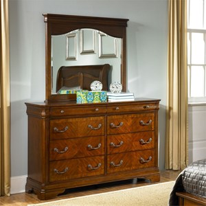 Traditional 8 Drawer Dresser with Mirror