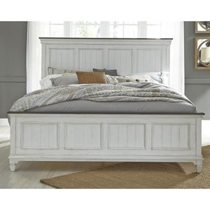 Cottage King Panel Bed with Crown Molded Headboard